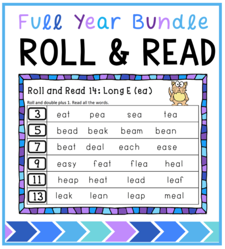 Practice math and reading at the same time with this full year set of roll and read for phonics and spelling patterns. Practices multiple basic math facts as you work through the year