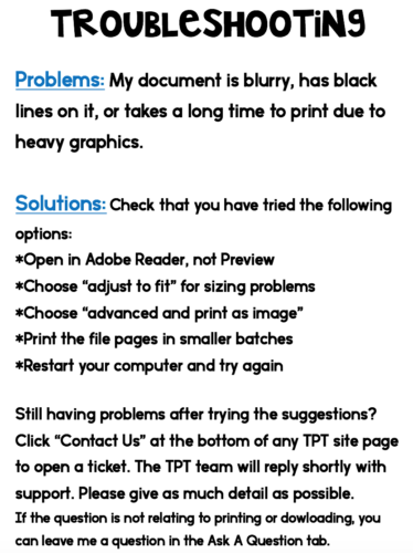 troubleshooting page