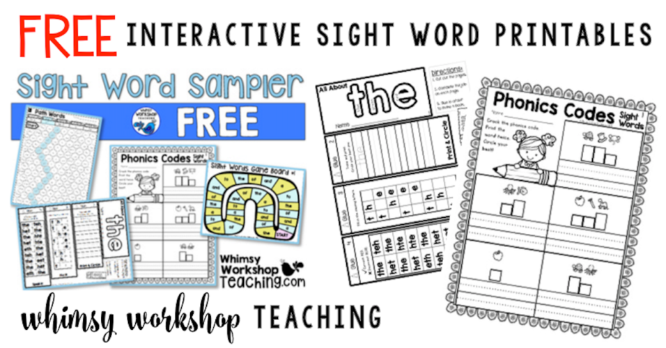 Love these freebie pages for Sight Word practice.