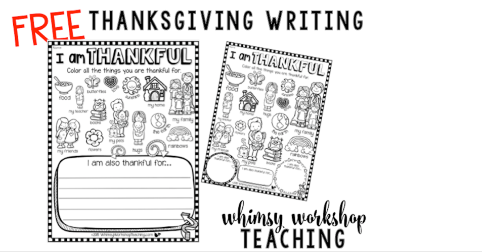 Download this cute I Am Thankful printable for early primary.