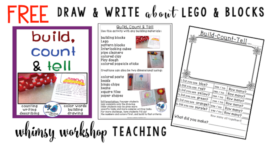One of my favorite freebies ever using lego or blocks for math and writing.