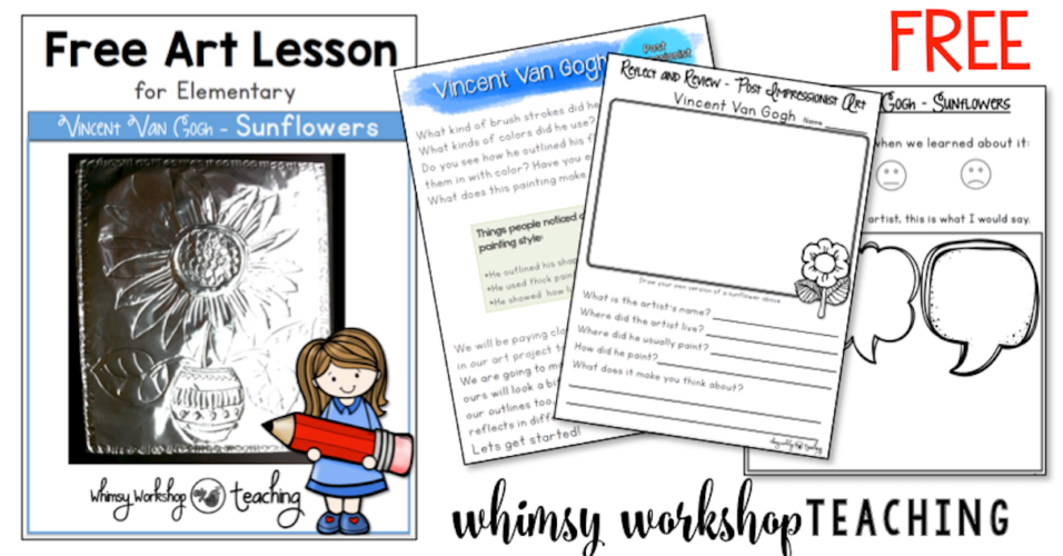 Free primary level Van Gogh art lesson with teacher read-aloud script.