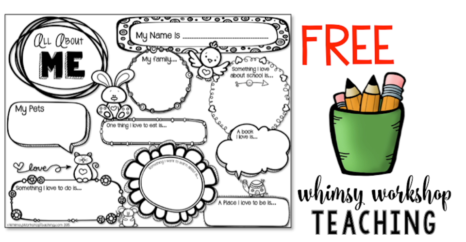 Download this sweet All About Me page for back to school writing assessment.