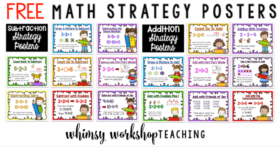 Math poster freebies pack for primary classrooms!