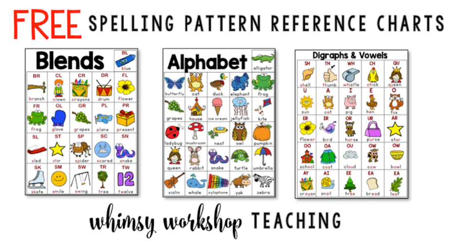 Grab these spelling pattern charts for student reference