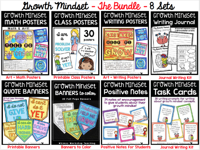 Check out this bundle of Growth Mindset themed activities, posters, banners, journal prompts and task cards!