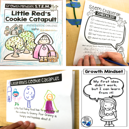 Use fairy tale partner plays to explore growth mindset and set up STEM challenges (free STEM poster set download)