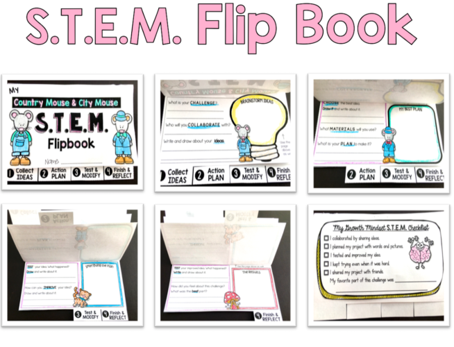 STEM and growth mindset together using workbooks and flip books for a writing component
