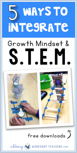 A detailed description of ways to teach STEM and growth mindset together for success in elementary grades. Lots of free downloads on this post!