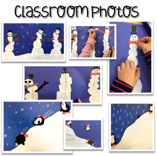 Winter art projects from my classroom using seasonal art lessons