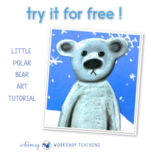 Download this adorable polar bear art tutorial for your students