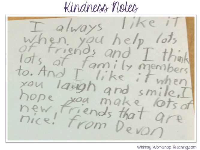 Kindness notes make the classroom more inclusive at christmas or any time of year!