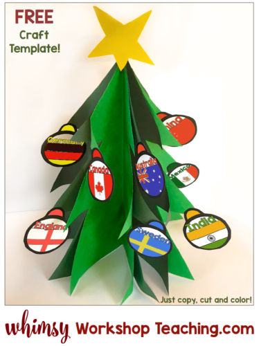 Simple cut and glue christmas tree craft with templates. Use the included cultural flag decorations, or your own ideas!