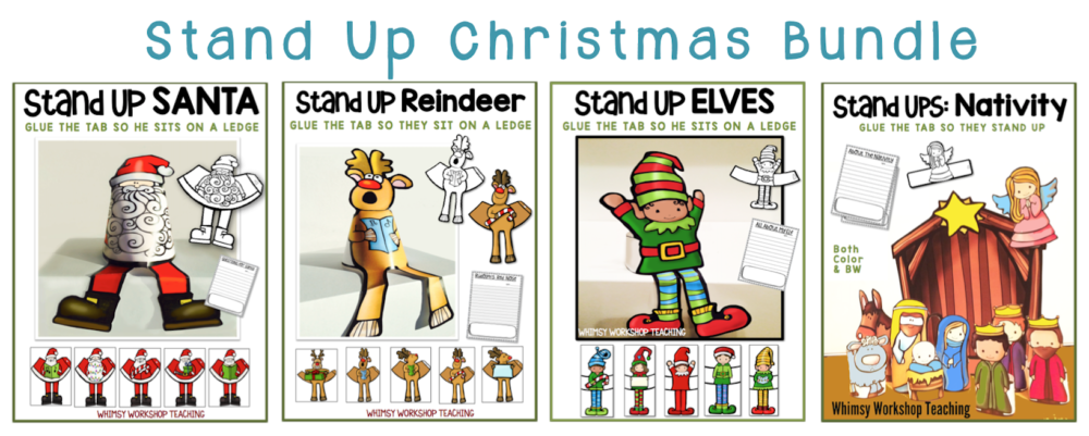 These christmas coloring printables are a big favorite! Just glue the tab in the back to make them stand up! Writing prompts included to extend learning.