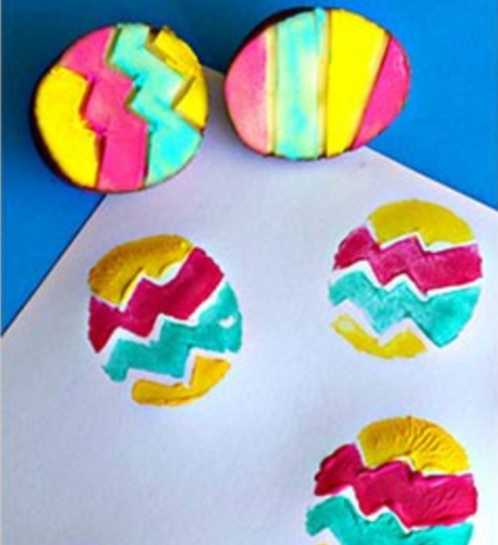 Potato Print Easter craft