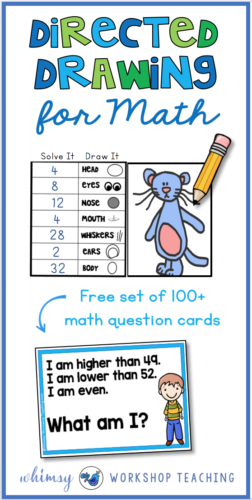 Directed Drawing for MATH is a great way to integrate math and art! This free pack includes over 100 math task cards with answers on the back. (free download)