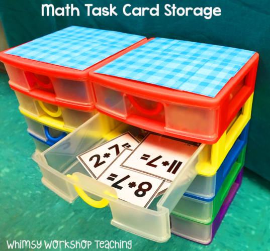 Easy math task card storage