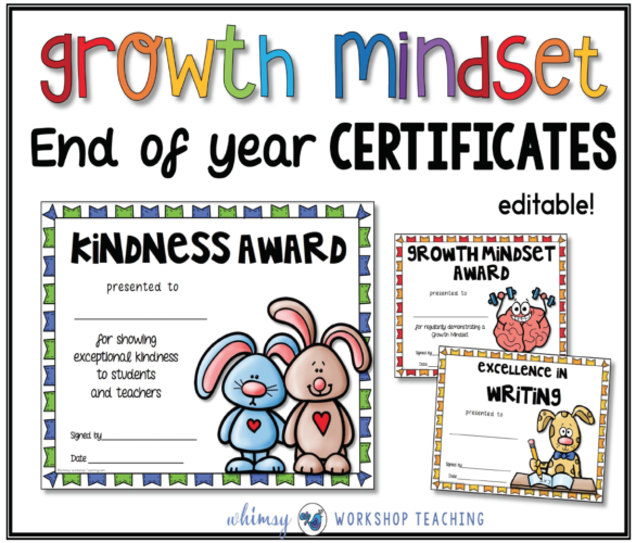 Growth Mindset Editable Certificates for the end of the school year