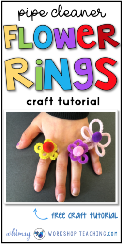 These adorable flower rings were a big hit! Just twist pipe cleaner around a pencil and glue a pompom in the middle (free download complete tutorial)