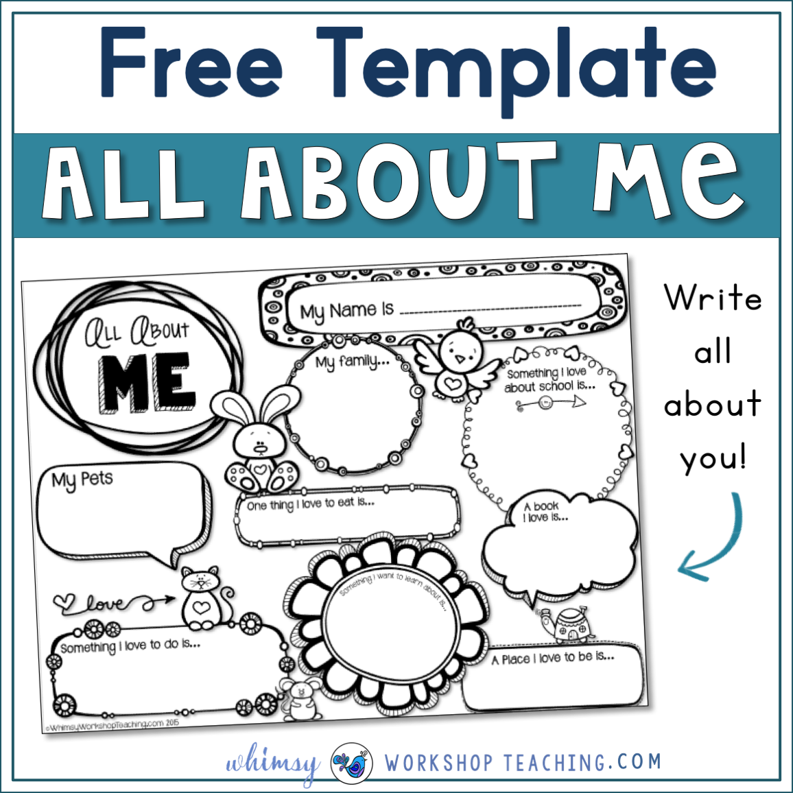 About Me Writing Template - Whimsy Workshop Teaching