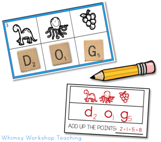 Add up the letter tiles to combine math and phonics!