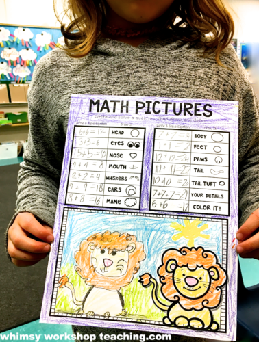 Math Pictures is a fun partner game for your math centers that is like Directed Drawing for math practice!