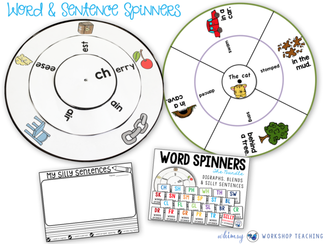 Phonics and Silly Sentence Spinners