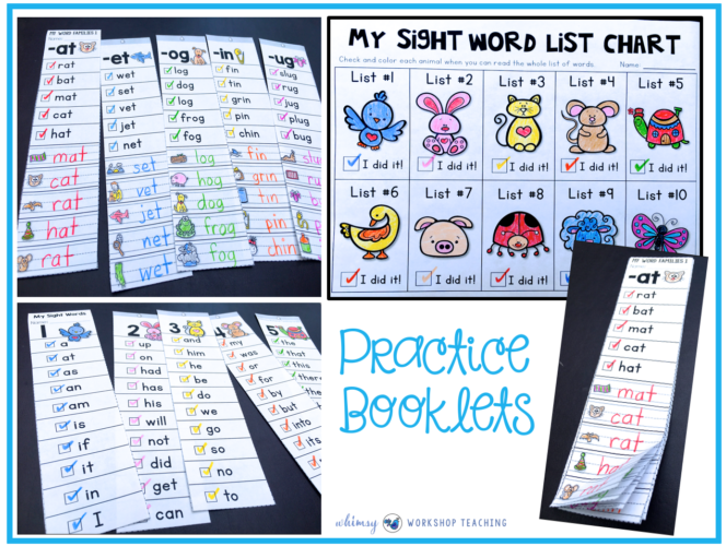Sight Words and Phonics Practice Lists