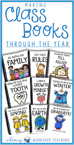 Class books are always a student favorite during reading choice time! Each student contributes a page to these themed class books and by the end of the year we have a whole basket of student created class books to enjoy.