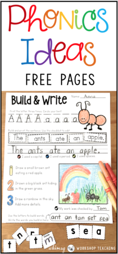 FREE pages! Teaching phonics can be fun and engaging if you keep it hands on and creative! Lots of ideas for your phonics instruction with very little prep.