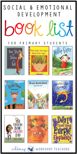 Teaching social emotional concepts in the primary classroom is so much easier with great books! Here's a list of the books I use to discuss big emotions, conflict resolution, anger management and kindness!