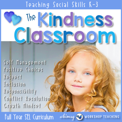 Create a peaceful and productive classroom by teaching essential social skills to students in Kindergarten or Grade 1, including self management, conflict resolution, growth mindset and friendship lessons. #SEL #social skills #character education