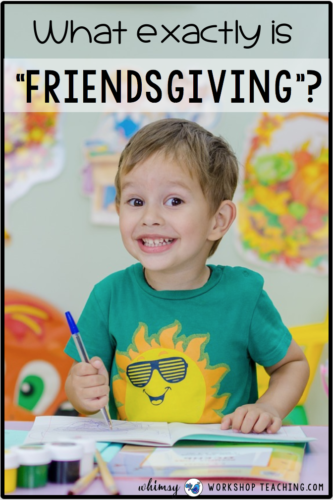 A young boy celebrating friendsgiving along with thanksgiving in the classroom
