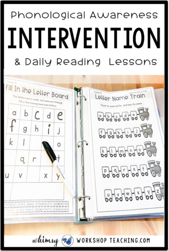 Reading intervention and assessment at your fingertips! Keep this binder on your desk for quick reading intervention along with hundreds of paperless reading lessons and activities. #readingintervention #firstgradereading #kindergartenreading #guidedreadinglessons