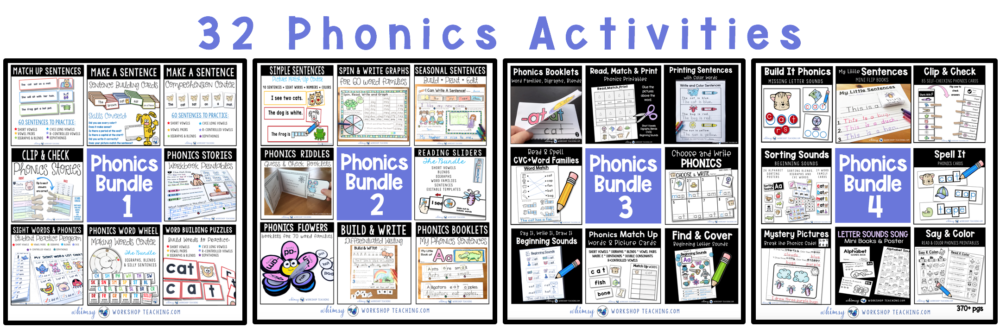 Four phonics center bundles