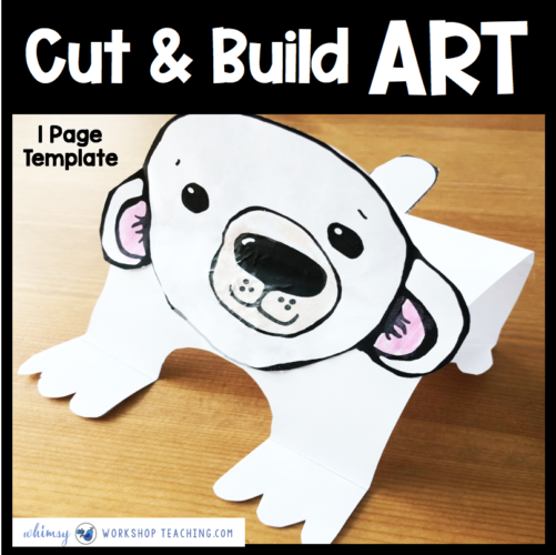 Polar Bear one page simple art craft template