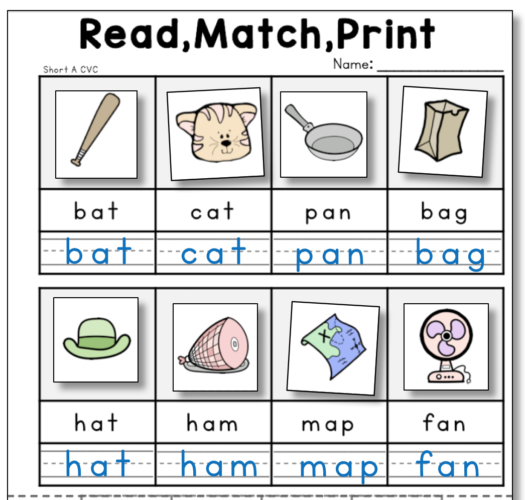 Matching words and pictures CVC by Whimsy Workshop Teaching