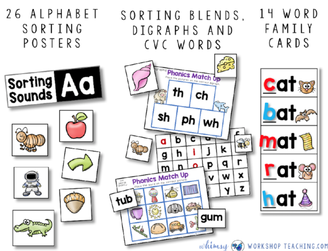 Sorting Phonics Sounds Centers by Whimsy Workshop Teaching