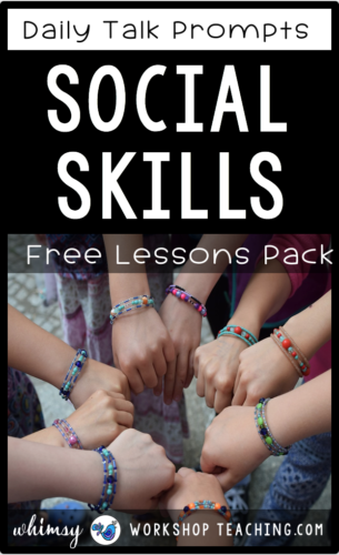 This is a FREE set of discussion prompts to teach social skills and expected behavior in the classroom. #SEL #teachingsocialskills #charactereducationkindergarten