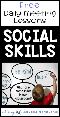 Teach social skills and character development with daily meetings for the whole year! Free sample pack #SEL #socialskillsactivities #socialskillslessons