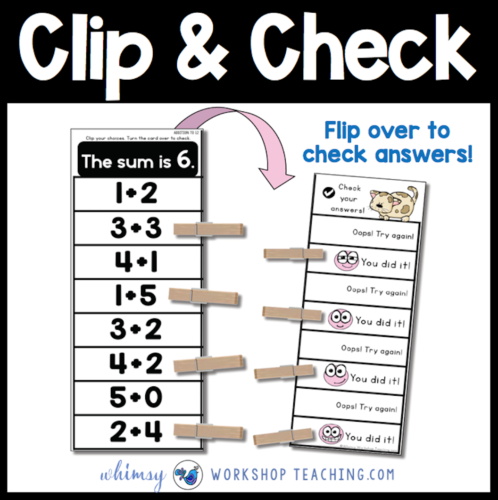 Clip and check self checking math centers for first grade! Free download from Whimsy Workshop Teaching #firstgrademath #mathcenters #mathactivities