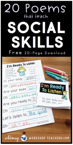 Teach social skills through Poem of the Week! Poems to reinforce social skills. Free download at Whimsy Workshop Teaching. #socialskillslessons #poemoftheweek #firstgradepoetry