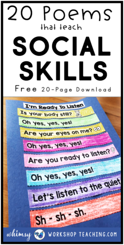 Teach social skills through poetry! Poems, chants and simple songs to reinforce social skills. Free download at Whimsy Workshop Teaching. #socialskillslessons #SELfirstgrade #firstgradepoetry