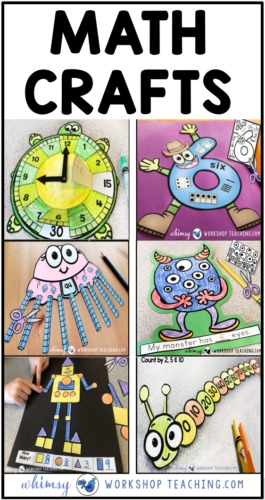 Add art and crafts to your math lessons to make them more fun! Download a FREE math craft project. #mathcraft #firstgrademathactivities
