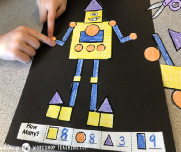 geometric shapes robot math crafts