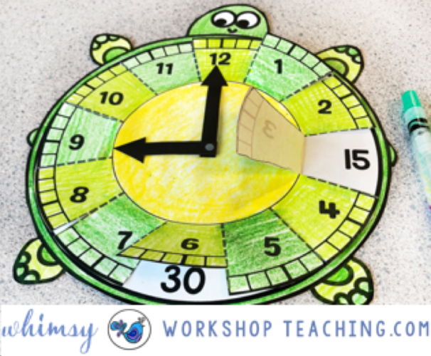 telling time clock turtle math crafts