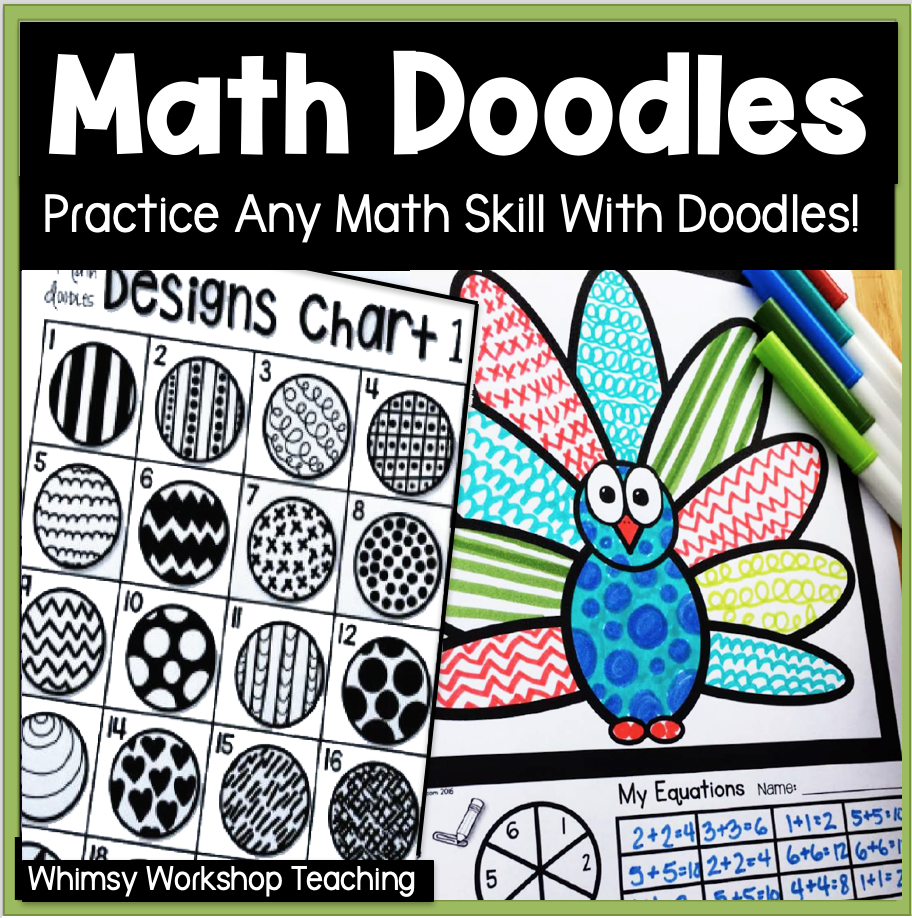 math doodles cover for any first grade math skill