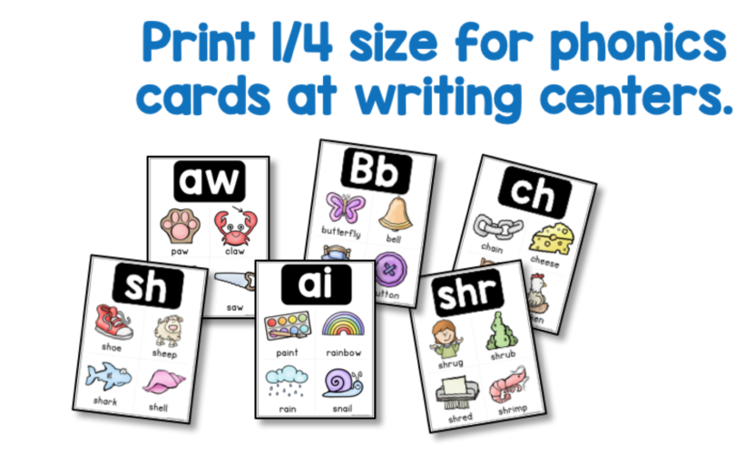 Writing center phonics reference cards