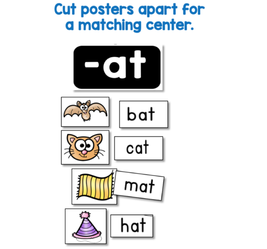 matching phonics center literacy idea