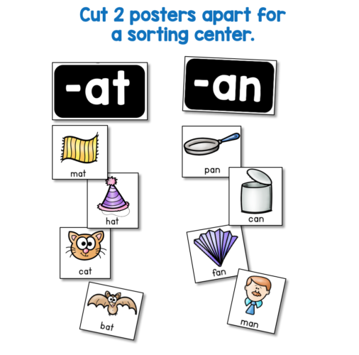sorting center phonics literacy center idea